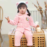 秋冬季儿童法兰绒女童宝宝款女孩珊瑚绒加厚睡衣小孩子家居服套装