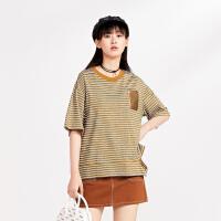 太平鸟条纹T恤女2019夏季新款圆领短袖上衣宽松休闲时尚针织衫女
