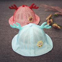 儿童渔夫帽夏大沿遮阳网眼盆帽男女宝宝帽子1-2岁太阳防晒婴儿帽