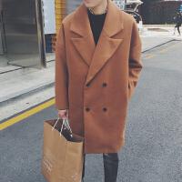 韩版经典气质百搭双排扣呢料大衣男中长款风衣毛呢大衣
