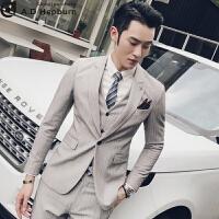 英伦风男士小西装新郎西服套装男正装秋季韩版结婚礼服三件套修身 黑色 L