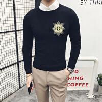 秋季 型男英伦绅士打底衫韩版休闲硬汉针织毛衣男圆领套头衫