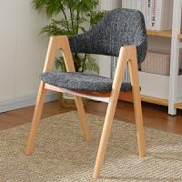 家逸榉木实木餐椅休闲椅电脑椅办公椅咖啡椅北欧创意布艺椅子