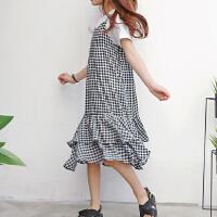女童时尚套装夏季薄中大童格子鱼尾裙儿童吊带裙两件套潮