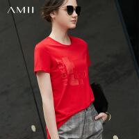 Amii极简港味chic欧货潮印花T恤女2018夏装新修身显瘦短袖上衣
