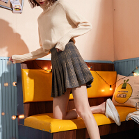 【1折价36.9元】唐狮百褶裙女半身裙秋冬女新款高腰加厚毛呢格子半身裙子