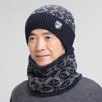 中老年保暖套头帽子围脖男冬天针织毛线帽韩版男士冬季骑车护脖帽