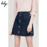 【预估到手价99.8】Lily春夏新款女装时尚全棉牛仔裙A型纽扣半身裙118210G6802