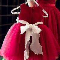 女童连衣裙公主蓬蓬裙纱裙花童婚 红色婴儿礼服百天礼服