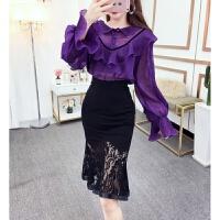 时尚两件套装2018秋冬季新款韩版长袖上衣+高腰蕾丝半身裙女装潮