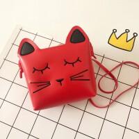 七夕礼物伊伊家 韩版儿童包包可爱公主时尚斜挎包卡通女童小包宝宝零钱包 红色小 小猫
