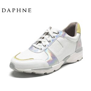 Daphne/达芙妮圆头系带时尚亮面休闲运动鞋单鞋女