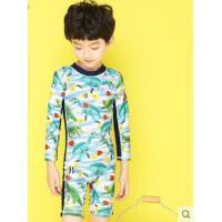 儿童时尚运动连体泳衣韩国显瘦男童中大童男孩宝宝长袖泳裤游泳衣