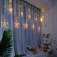 遮光飘窗窗帘成品纯色蕾丝双层窗帘客厅全遮光布卧室韩式小清新