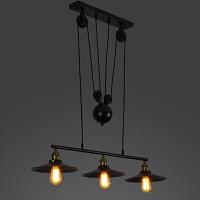 台球桌灯咖啡厅美式复古工业风吧台餐厅三头锅盖铁艺吊灯