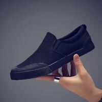 夏季帆布鞋男士一脚蹬懒人鞋纯黑色工作布鞋男鞋休闲鞋潮鞋