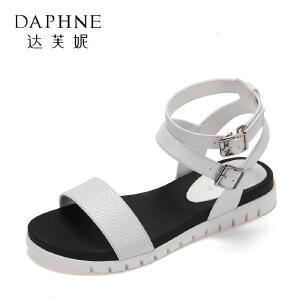 Daphne/达芙妮夏季学生舒适平底凉鞋 潮流纹理双扣带软底女鞋