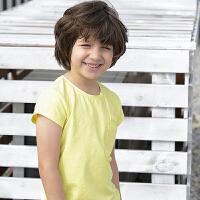 【商场同款热卖】amii童装2018夏装新款纯色男童短袖上衣中大童儿童圆领双口袋T恤
