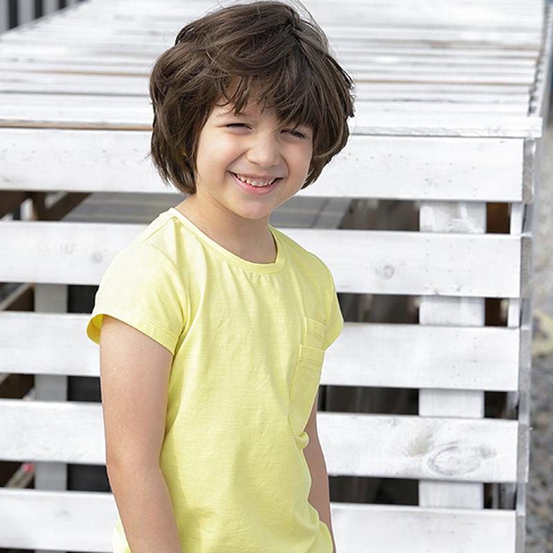 【尾品汇 5折直降】amii童装2018夏装新款纯色男童短袖上衣中大童儿童圆领双口袋T恤