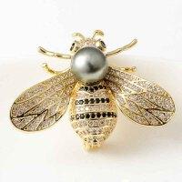 时尚大溪地海水珍珠小蜜蜂胸针西装毛衣胸花吊坠两用精致别针生活日用新品创意家居