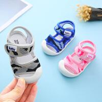 宝宝凉鞋男包头网布0-1-2岁软底防滑幼儿学步女童夏季婴儿凉鞋