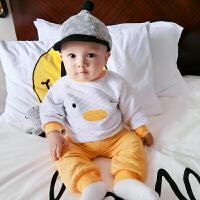 婴儿秋冬装女童洋气套装1岁3个月男宝宝加厚保暖睡衣新生儿两件套
