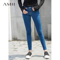 【到手价:78元】Amii极简街头港风弹力显瘦牛仔裤女2019春装新款九分修身铅笔裤