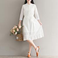 白色衬衫连衣裙女显瘦蕾丝中长裙秋装新款(实拍)