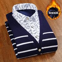 冬季保暖毛衣男青年韩版加绒加厚假两件针织衫男士圆领套头衬衫男