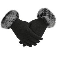 韩版手套女秋冬季加绒加厚兔毛开车触屏手套羊毛羊绒手套女士分指