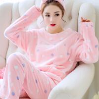 冬天女士加厚珊瑚绒睡衣可爱卡通秋冬季长袖法兰绒家居服情侣套装