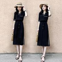 【超值优惠】复古黑色赫本风v领连衣裙女装夏季2019新款中长收腰气质修身显瘦