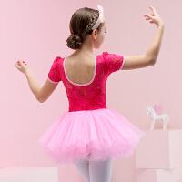 儿童舞蹈服夏季短袖女童芭蕾舞裙练功服撞色跳舞裙女孩中国舞服装