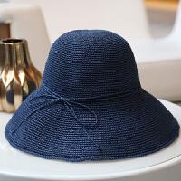 手工编织拉拉草渔夫帽女士韩版可折叠遮阳帽防晒草帽出游夏季帽子 可调节