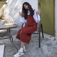 秋冬女装新款韩版中长款开叉灯芯绒背带裙无袖连衣裙显瘦学生