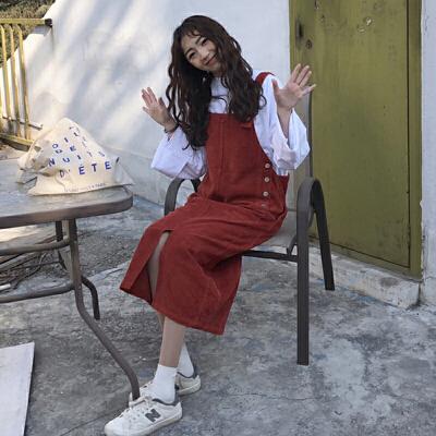 秋冬女装新款韩版中长款开叉灯芯绒背带裙无袖连衣裙显瘦学生 一般在付款后3-90天左右发货,具体发货时间请以与客服协商的时间为准