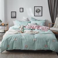 北欧文艺风秋冬水洗棉床上四件套A全棉B水晶绒床单被套双人宝宝绒 2.0m(6.6英尺)床 床单式
