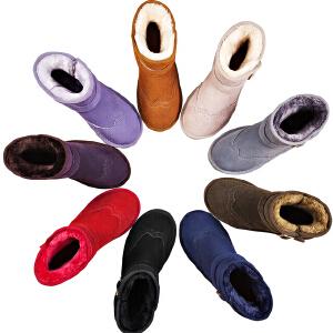 【毅雅】真皮雪地靴女短筒韩版短靴棉鞋冬季保暖冬新款加绒雪地鞋
