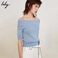 Lily2018夏新款女装时尚OL一字领蓝色修身针织衫118219B8927