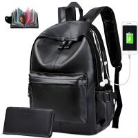 双肩包男小号男士背包简约皮质女英伦个性时尚潮流书包韩版学生 黑色升级+手包 有USB充电耳机孔