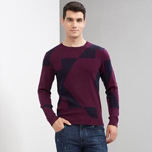 才子男装(TRIES)羊毛衫 男2017秋冬新款紫色几何时尚撞色休闲羊毛衫