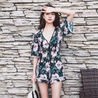 新款游泳衣女比基尼罩衫三件套大胸钢托聚拢性感防晒海边沙滩温泉 花色