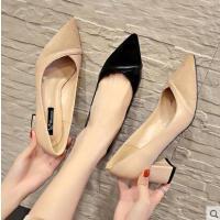 尖头单鞋女高跟鞋新款韩版粗跟百搭浅口拼色职业工作鞋