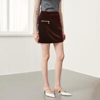 【折扣价:59元】红袖复古金丝绒金属拉链包臀半身裙