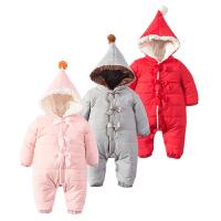 婴儿连体衣服0-1岁3个月女宝宝新生儿衣服冬季冬装秋季棉衣外出服