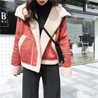 秋冬新款韩版加厚保暖麂皮绒拼接上衣短款翻领长袖棉衣外套女 均码