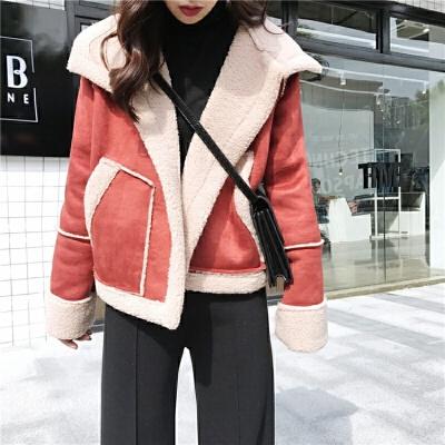 秋冬新款韩版加厚保暖麂皮绒拼接上衣短款翻领长袖棉衣外套女  均码 一般在付款后3-90天左右发货,具体发货时间请以与客服协商的时间为准