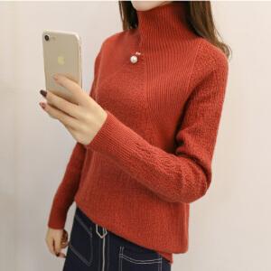 新款百搭显瘦打底毛衣短款韩版时尚高领潮流纯色长袖菱形针织衫女