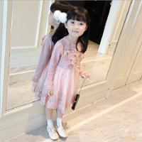 女童连衣裙2018春季新款韩版中小童花纹珍珠蛋糕裙连衣裙公主裙潮
