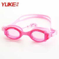 儿童泳镜 男童女童高清防水防雾大框游泳眼镜 宝宝平光游泳装备 粉色连体耳塞